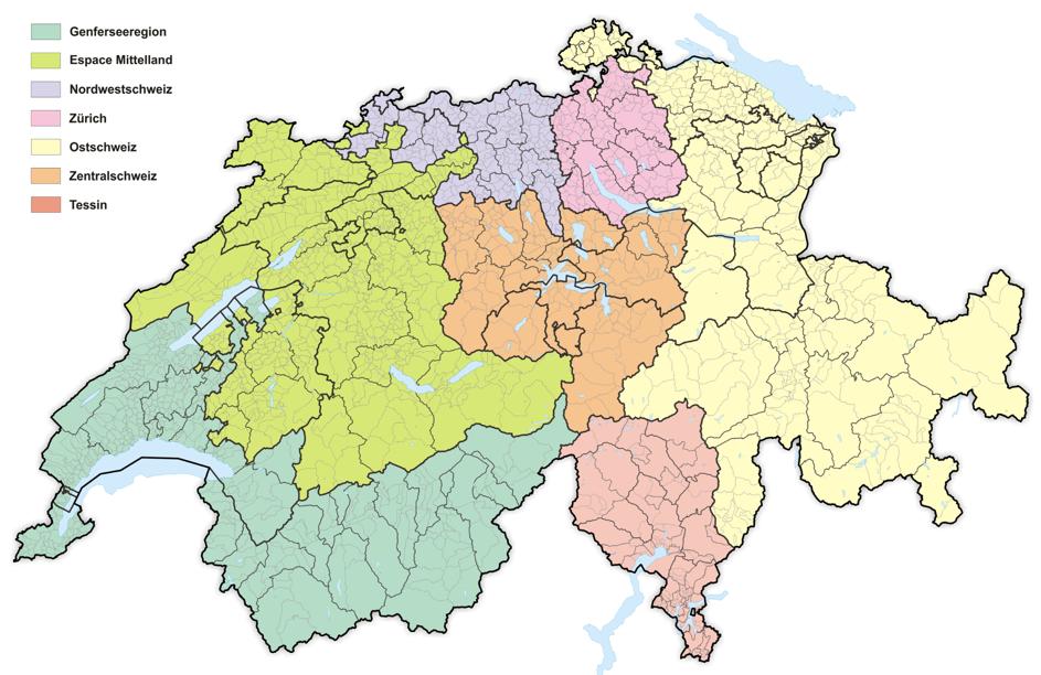 Die 7 klassischen Wirtschaftsregionen der Schweiz